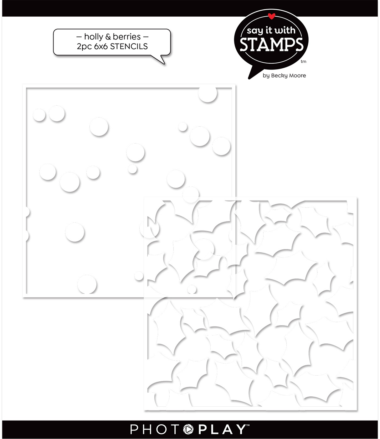 PhotoPlay Say It With Stamps Stencil - Holly & Berries, 2 Layer