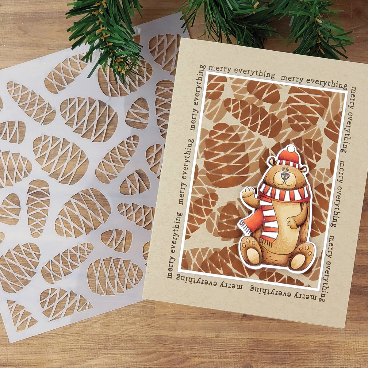 PhotoPlay Say It With Stamps Stencil - Pinecones