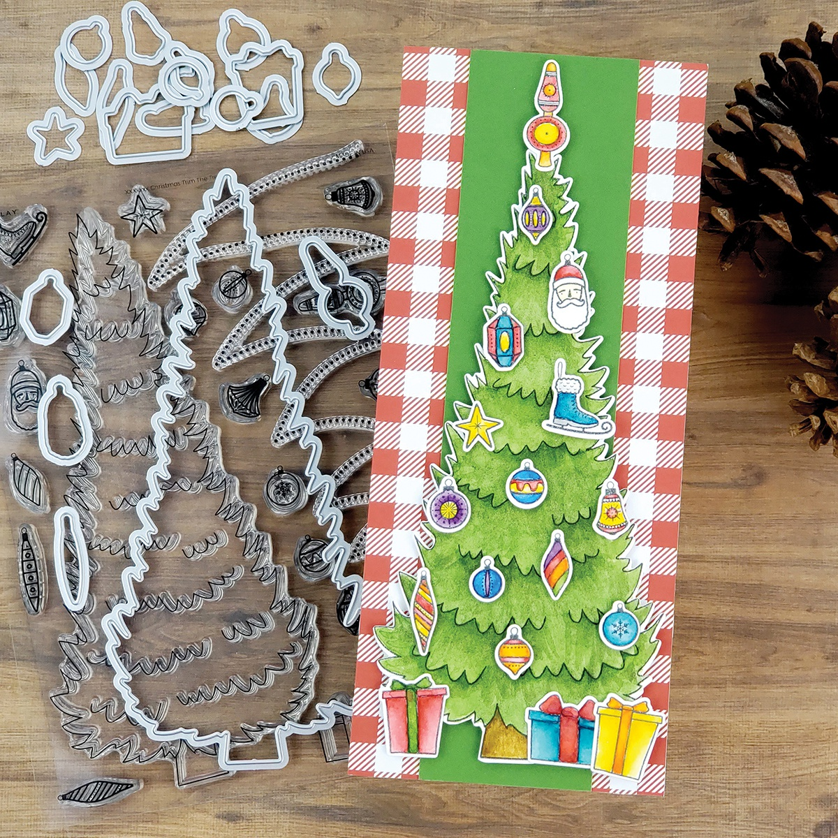PhotoPlay Say It With Stamps Photopolymer Stamps and die set -#9 Trim A Tree