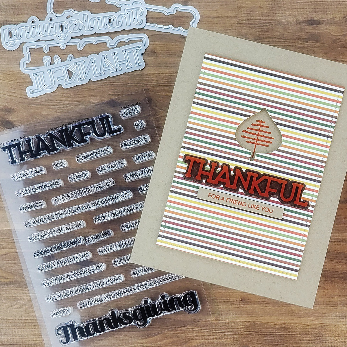 PhotoPlay Say It With Stamps Die Set-Thankful/Thanksgiving