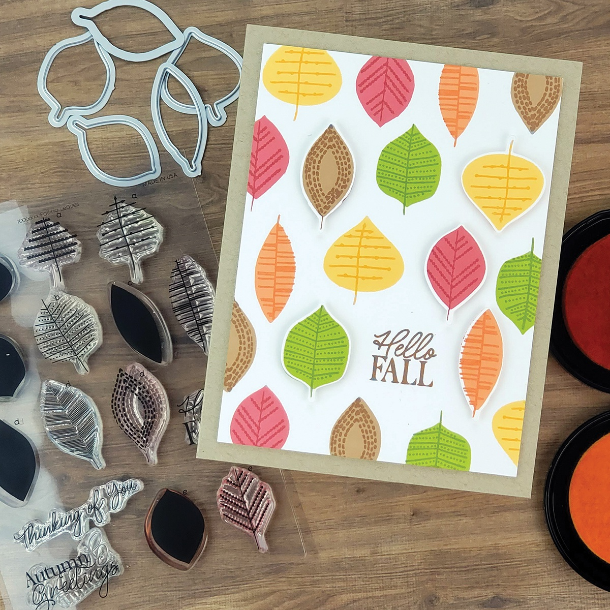 PhotoPlay Say It With Stamps Die Set-Fall Leaves