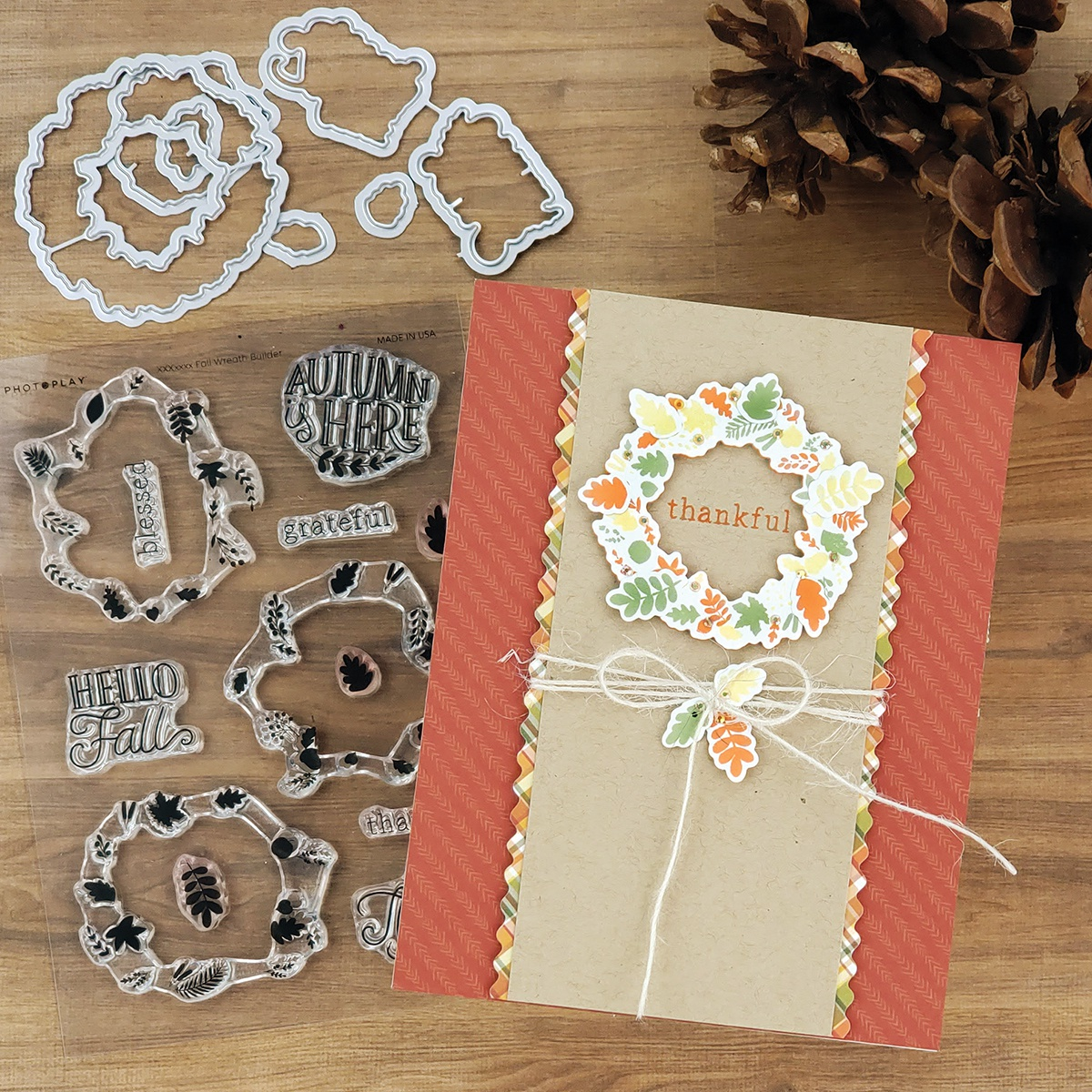 PhotoPlay Say It With Stamps Die Set-Fall Build A Wreath