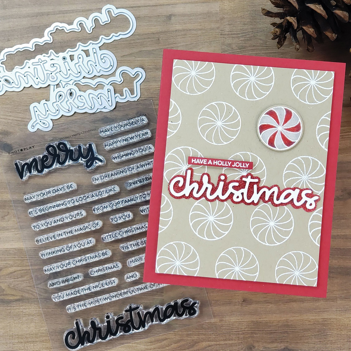 PhotoPlay Say It With Stamps Die Set-Merry/Christmas
