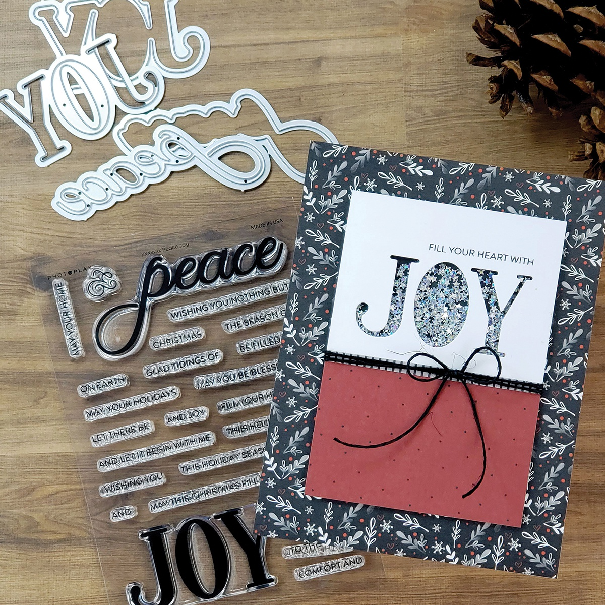 PhotoPlay Say It With Stamps Die Set-Peace/Joy