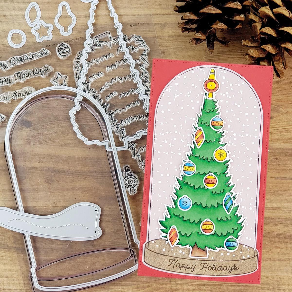 PhotoPlay Say It With Stamps Die Set-#6 Snow Globe Tree