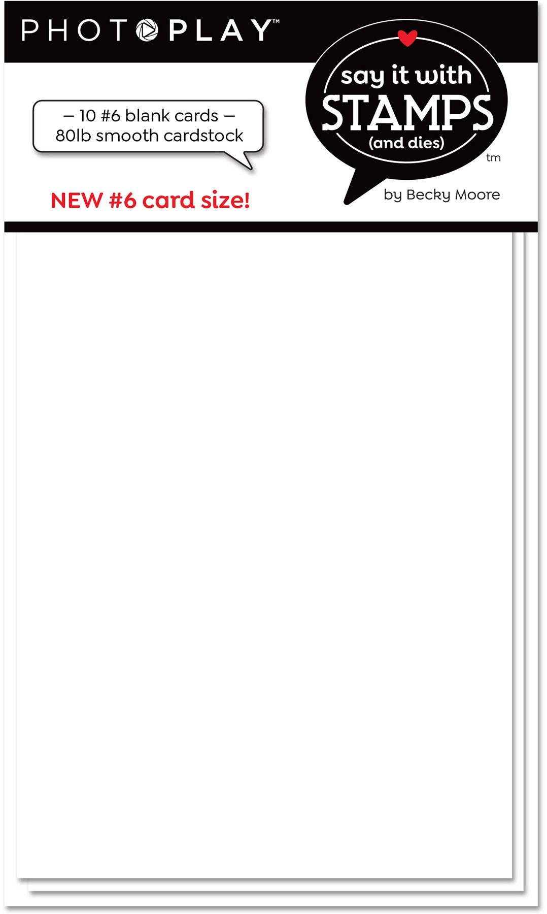 Say It With Stamps Blank Card Bases - #6 White, 10/Pkg