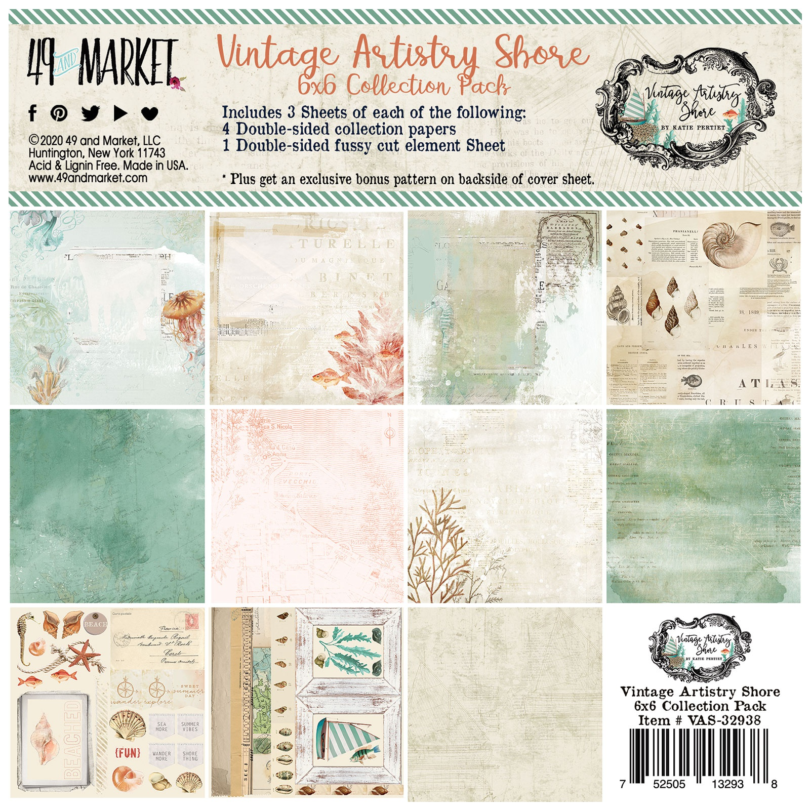 49 And Market Collection Pack 6X6-Vintage Artistry Shore