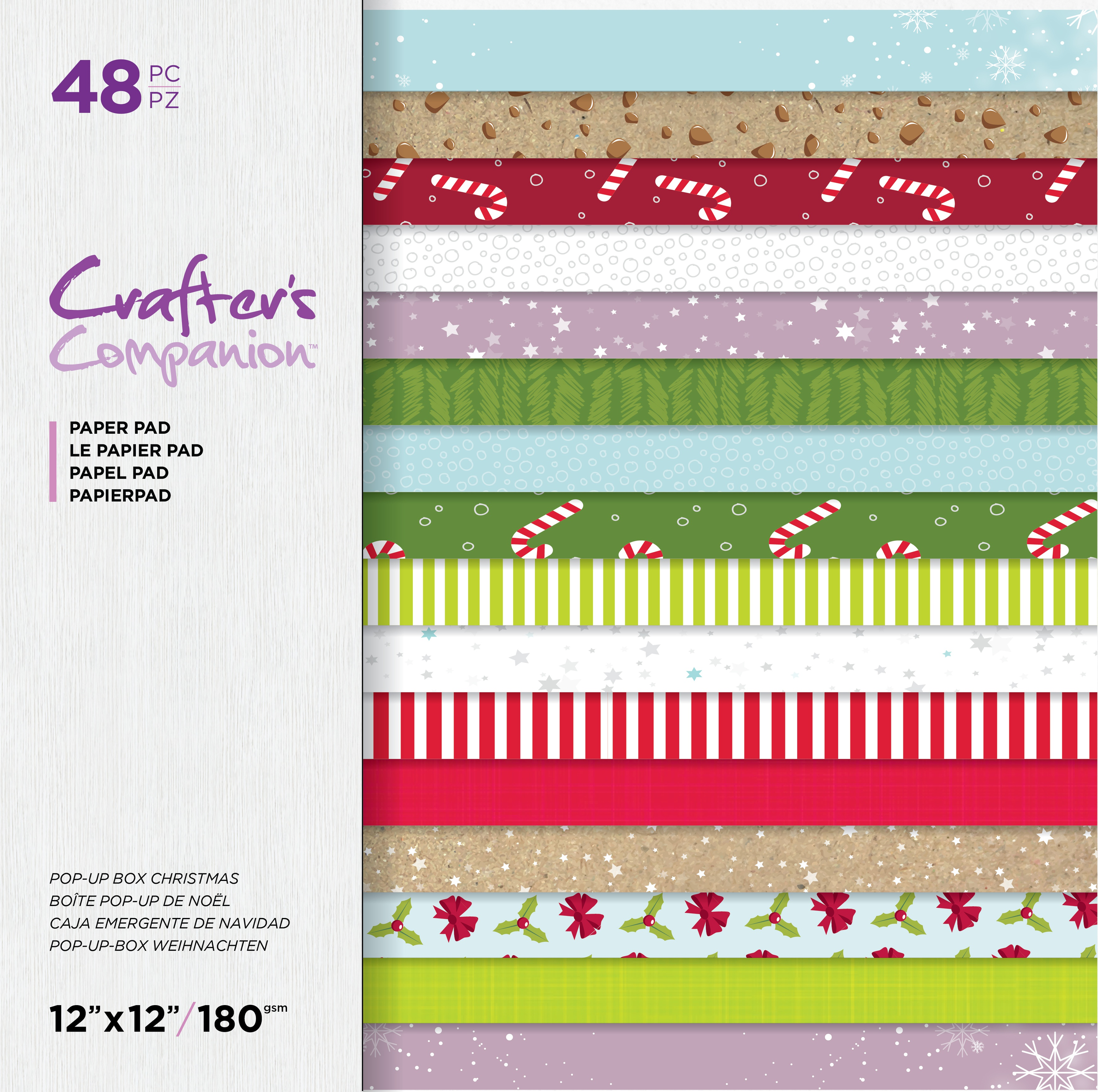 Crafter's Companion Printed Double-Sided Paper Pad 12X12-Pop-Up Box Christmas