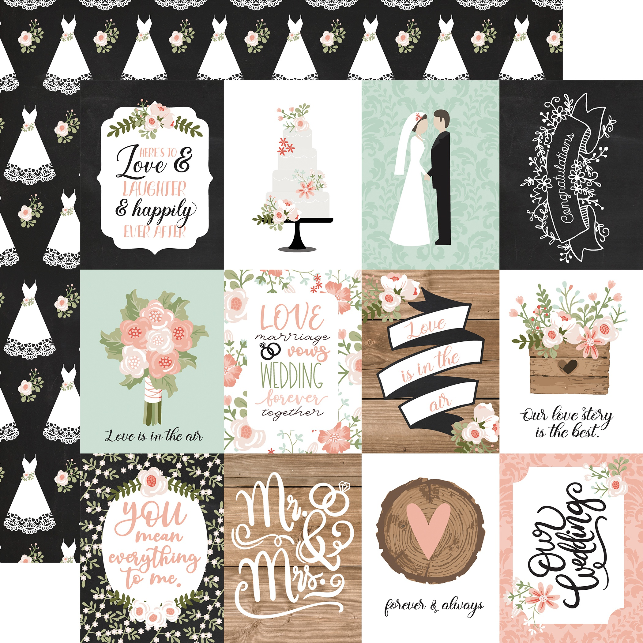 Our Wedding Double-Sided Cardstock 12X12-4X6 Journaling Cards