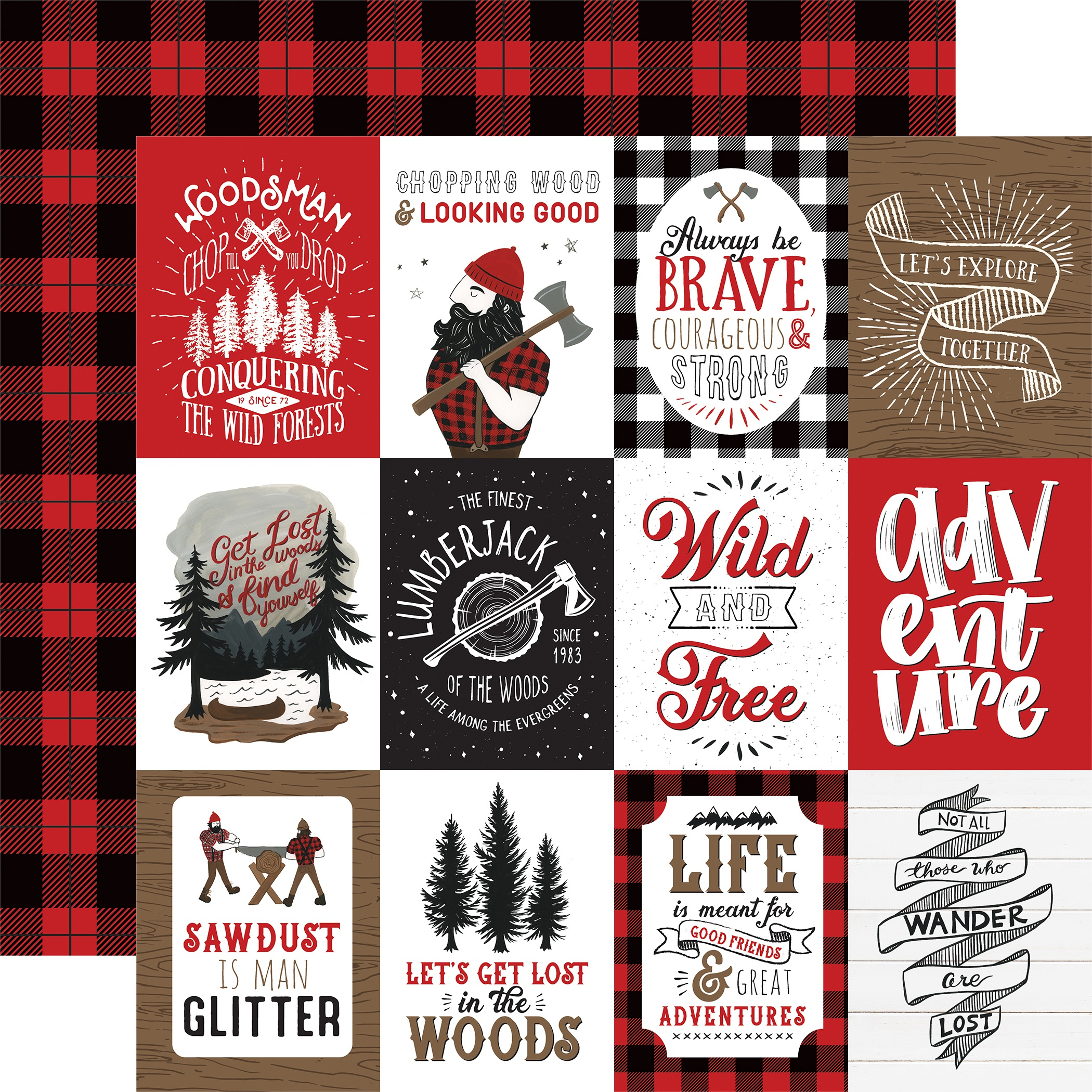 Let's Lumberjack Double-Sided Cardstock 12X12-3X4 Journaling Cards