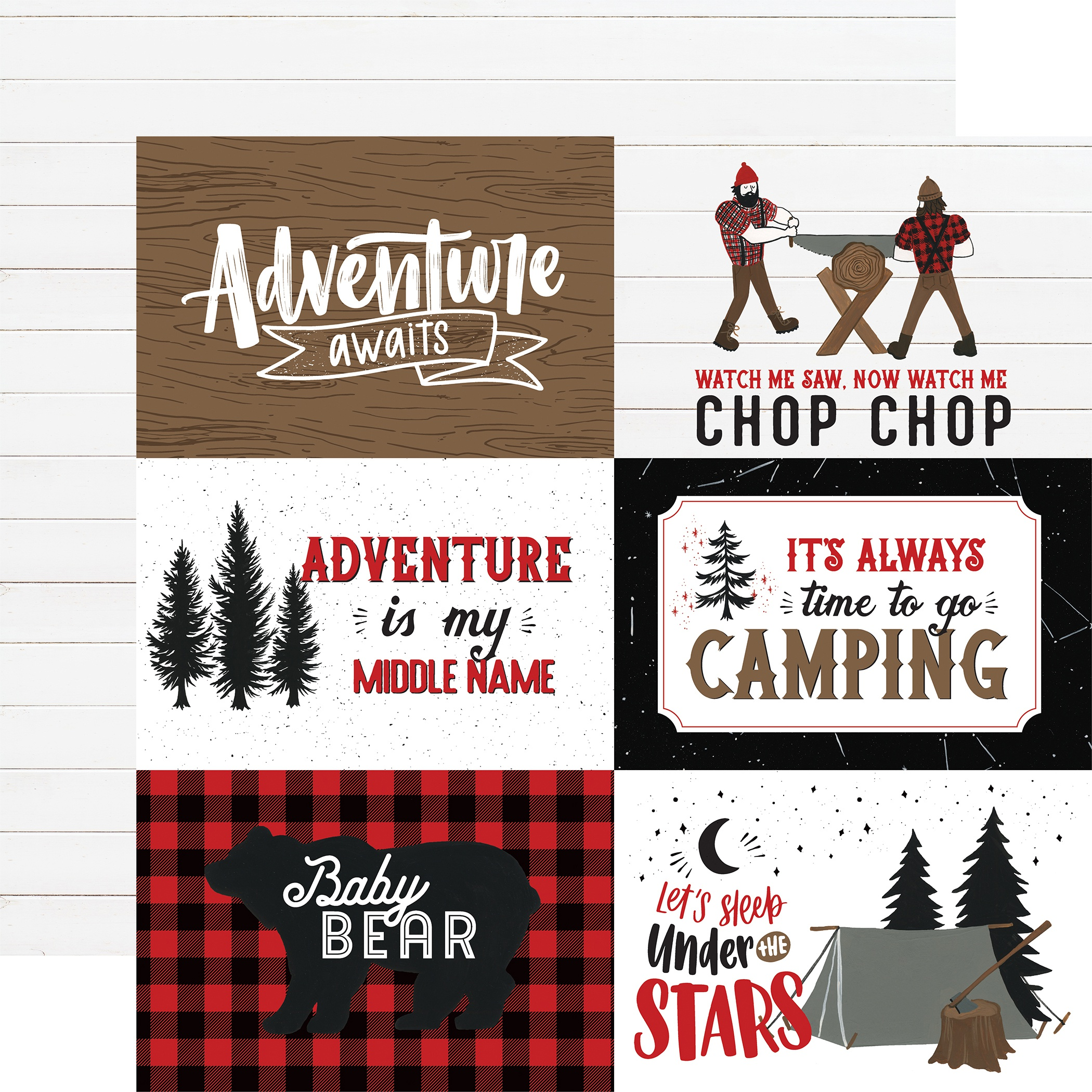 Let's Lumberjack Double-Sided Cardstock 12X12-4X6 Journaling Cards
