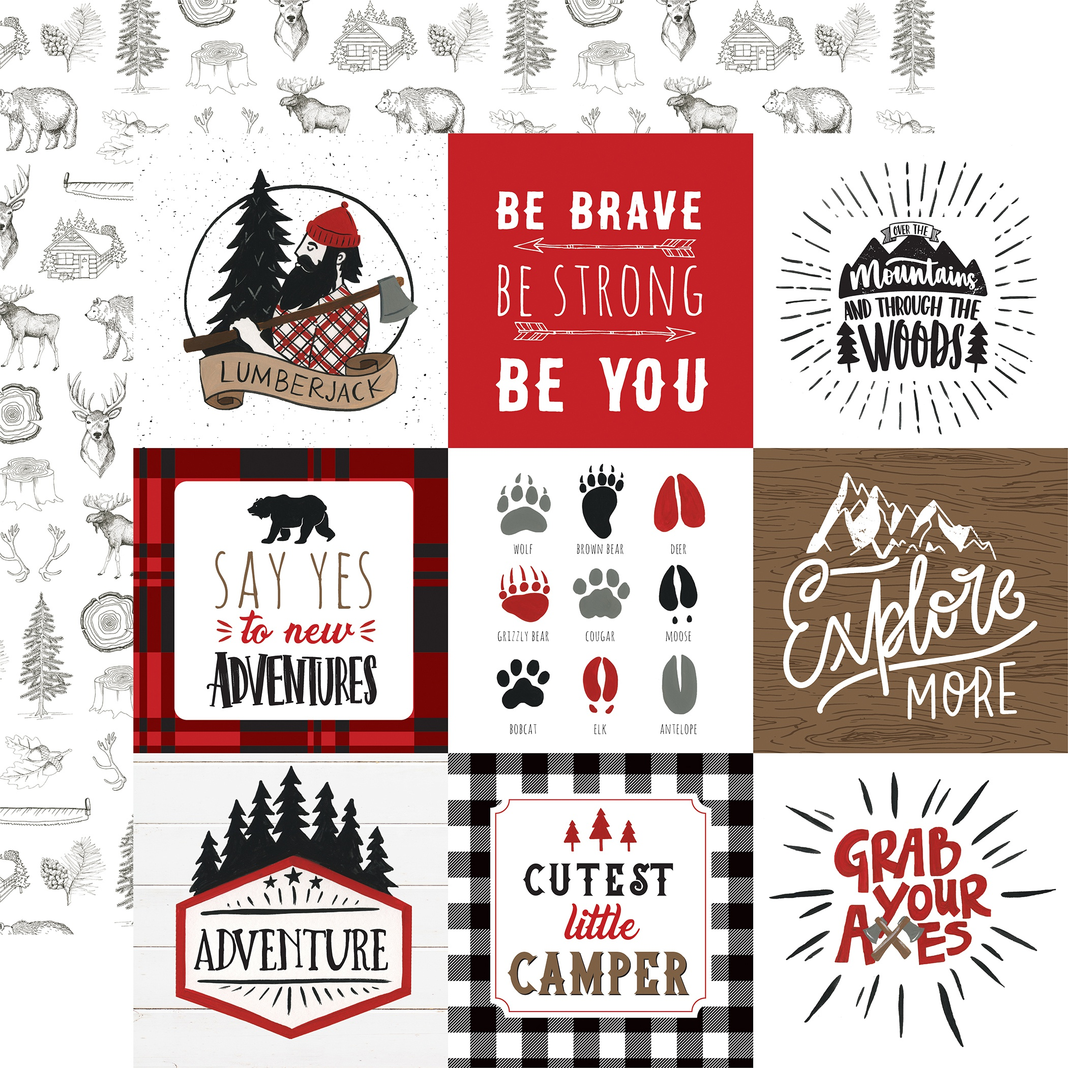 Let's Lumberjack Double-Sided Cardstock 12X12-4X4 Journaling Cards
