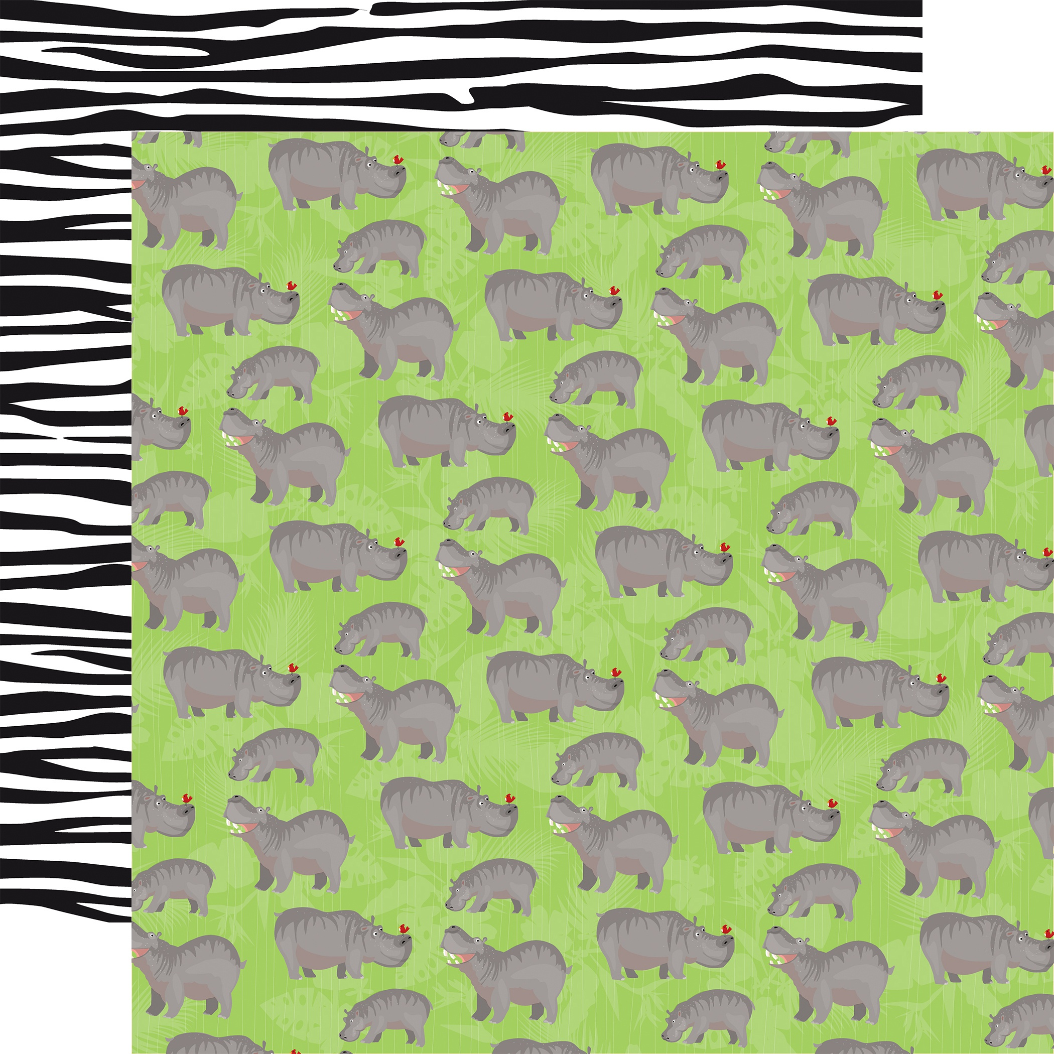 Zoo Adventure Double-Sided Cardstock 12X12-Hippos