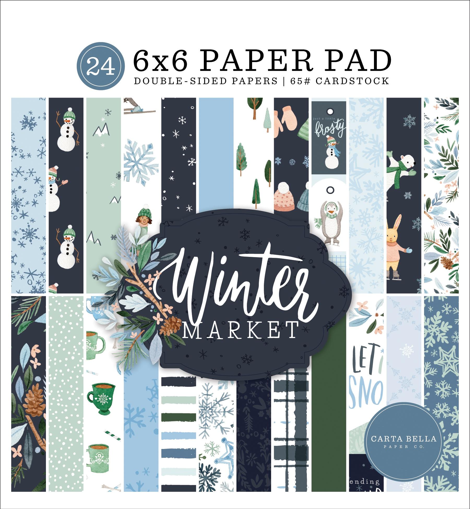 Carta Bella Double-Sided Paper Pad 6X6 24/Pkg-Winter Market, 12 Designs/2 Each