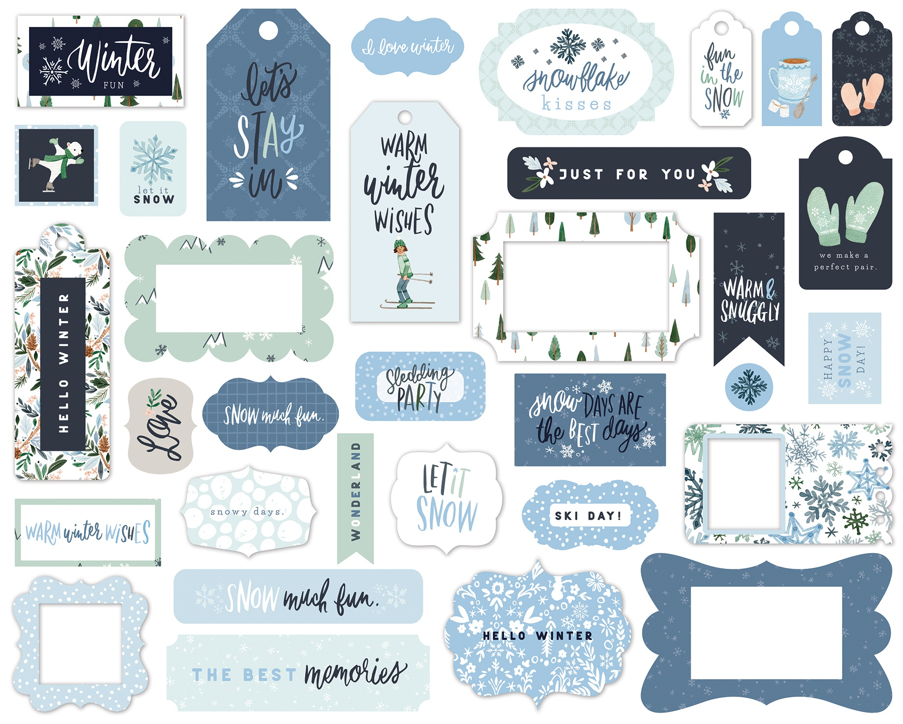 Carta Bella Cardstock Ephemera 33/Pkg-Frames & Tags, Winter Market