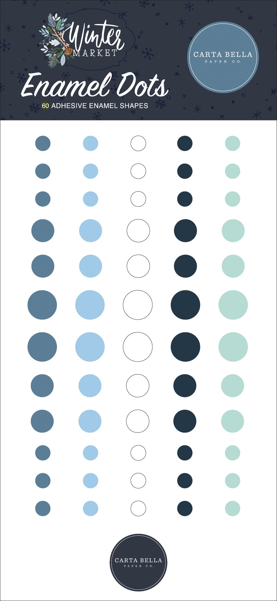 Carta Bella Adhesive Enamel Dots 60/Pkg-Winter Market