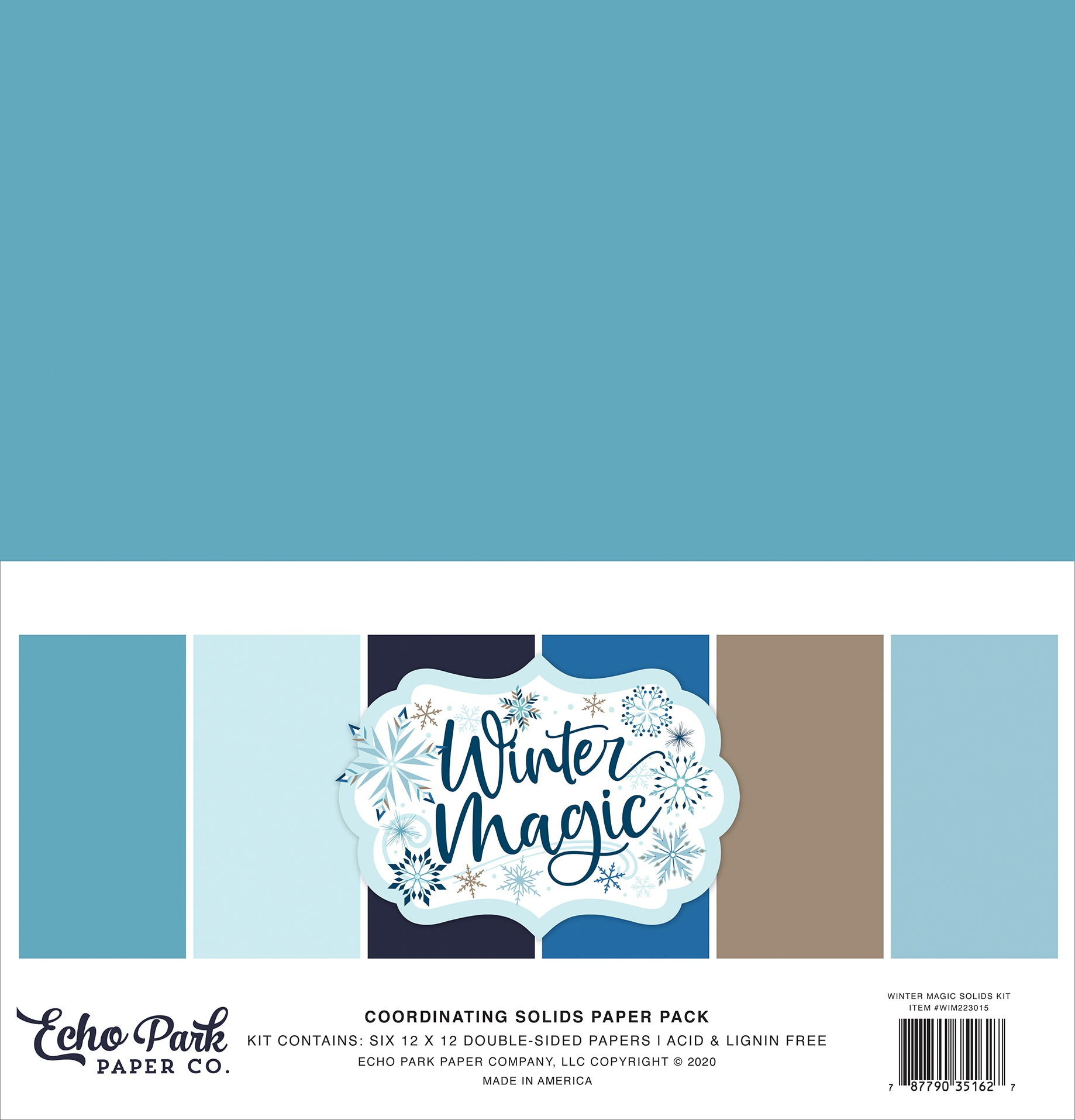 Echo Park Double-Sided Solid Cardstock 12X12 6/Pkg-Winter Magic, 6 Colors