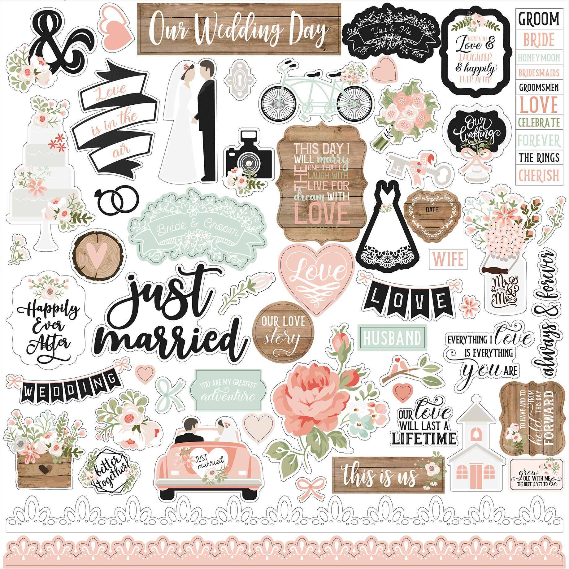 Our Wedding Cardstock Stickers 12X12-Elements