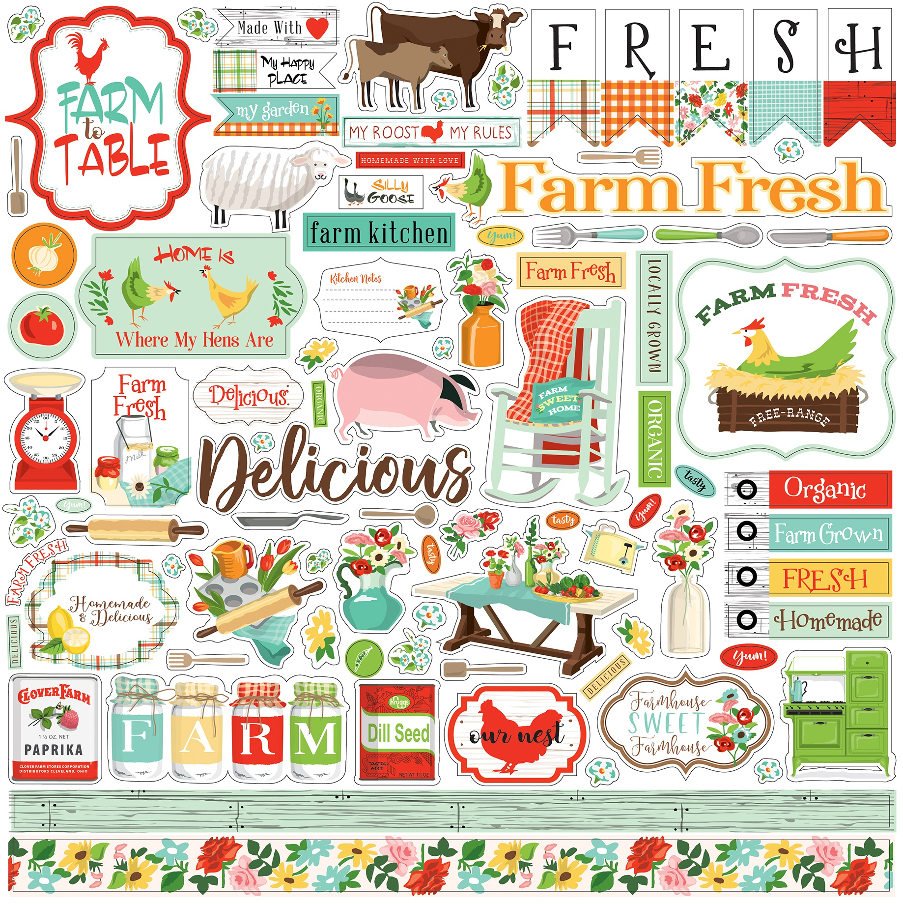 Farm To Table Cardstock Stickers 12X12