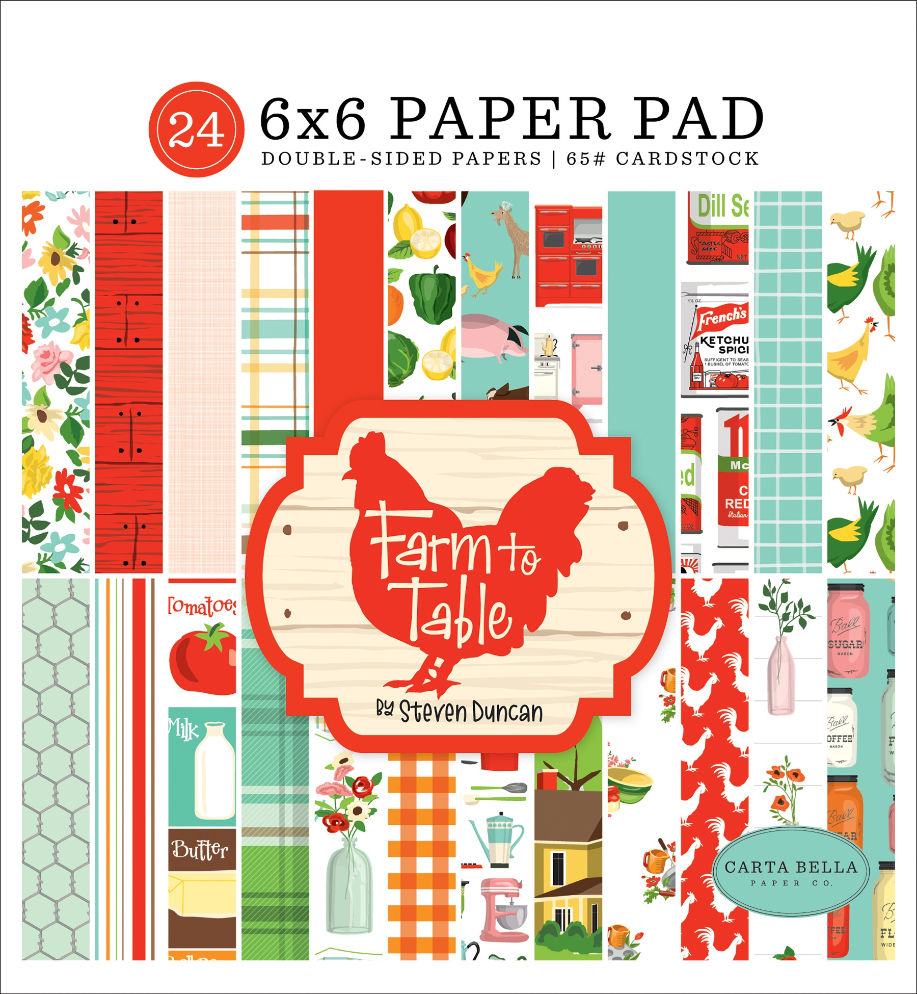 Carta Bella Double-Sided Paper Pad 6X6 24/Pkg-Farm To Table, 12 Designs/2 Each