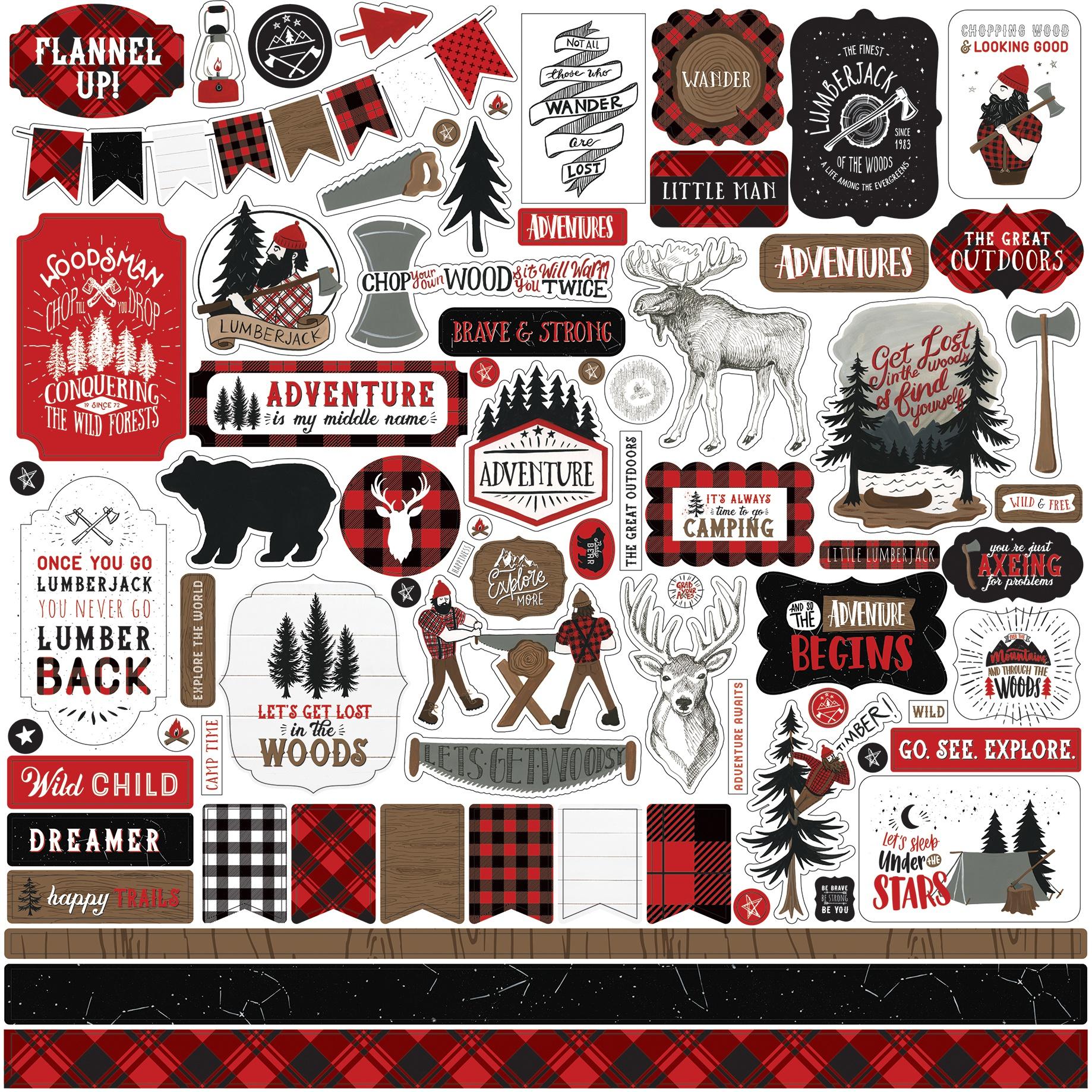 Let's Lumberjack Cardstock Stickers 12X12-Elements