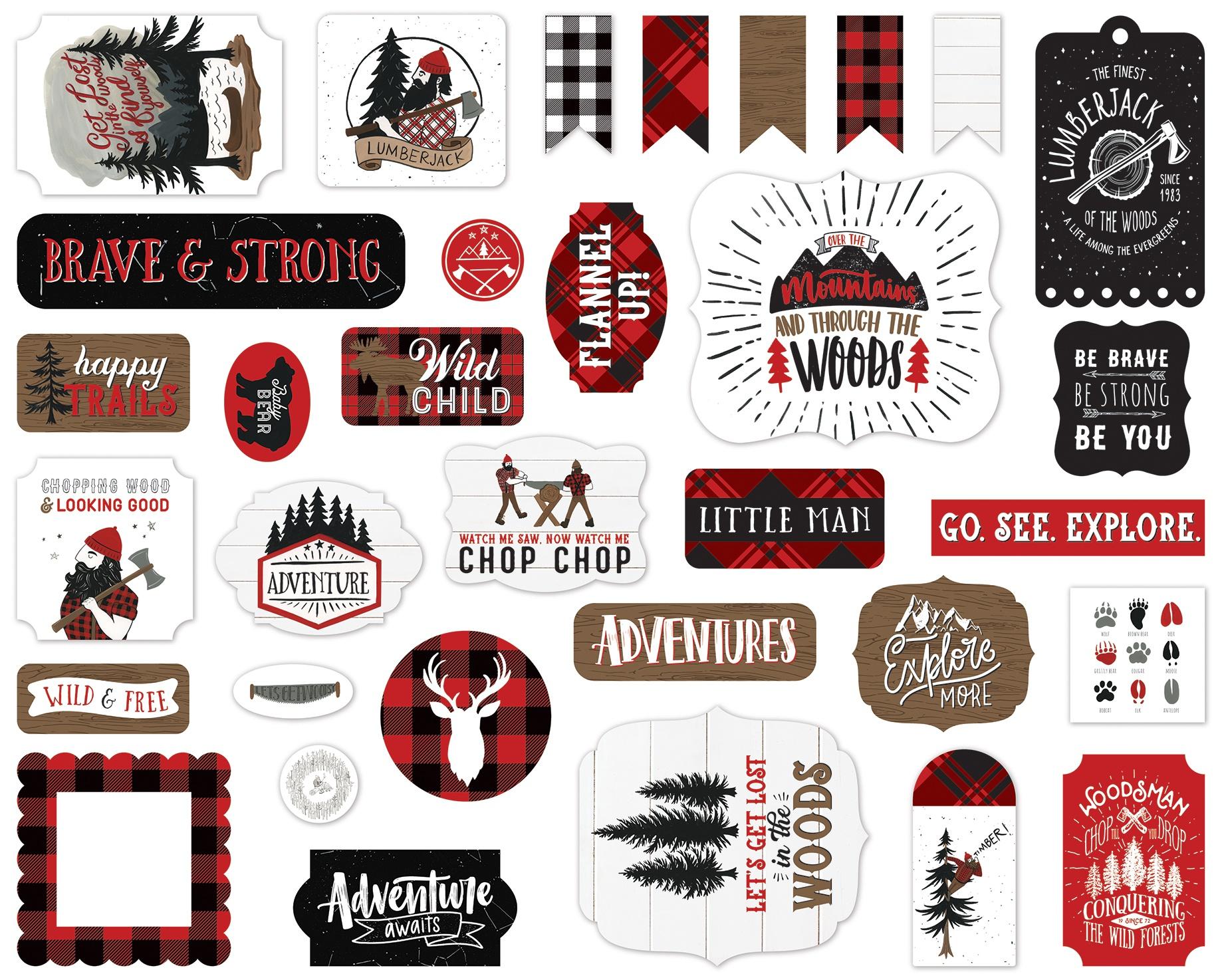 Echo Park Cardstock Ephemera 33/Pkg-Icons, Let's Lumberjack