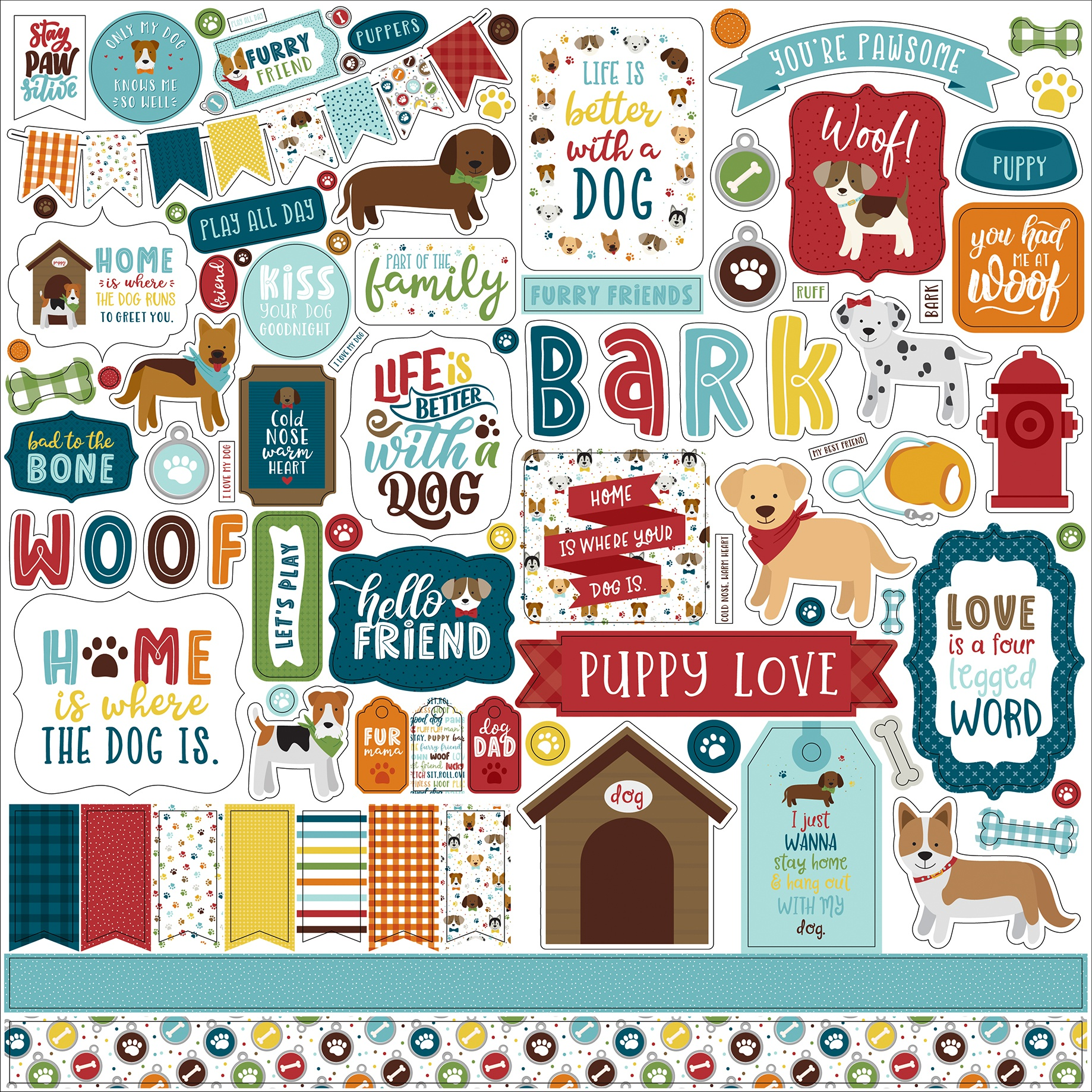 My Dog Cardstock Stickers 12X12-Elements