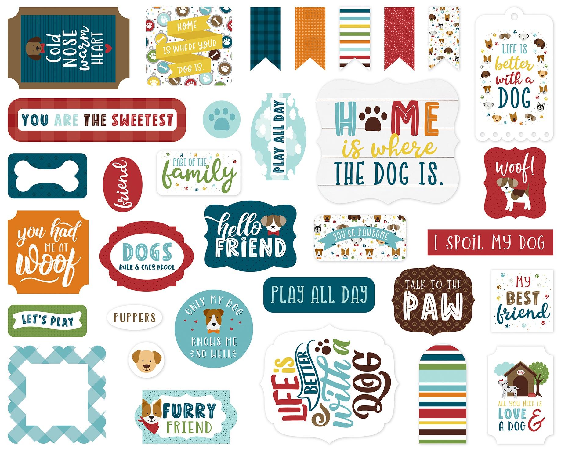 Echo Park Cardstock Ephemera 33/Pkg-Icons, My Dog