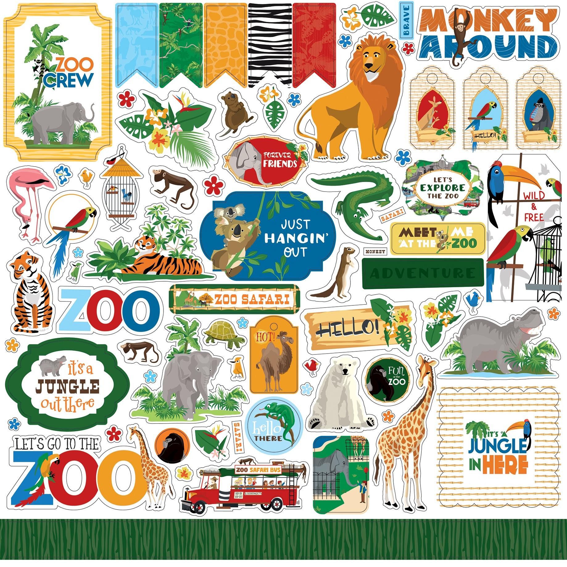 Zoo Adventure Cardstock Stickers 12X12-Elements