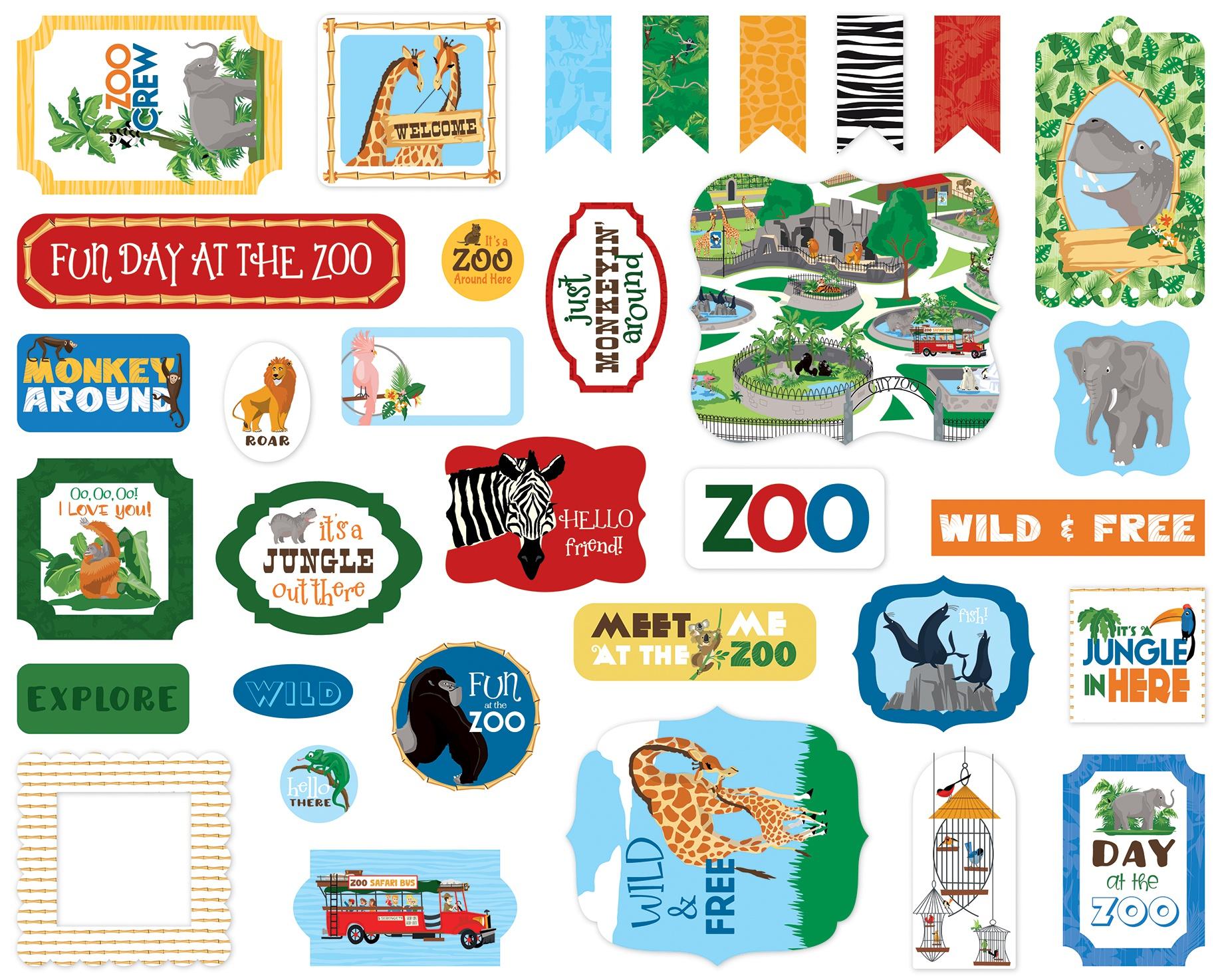 Carta Bella Cardstock Ephemera 33/Pkg-Icons, Zoo Adventure