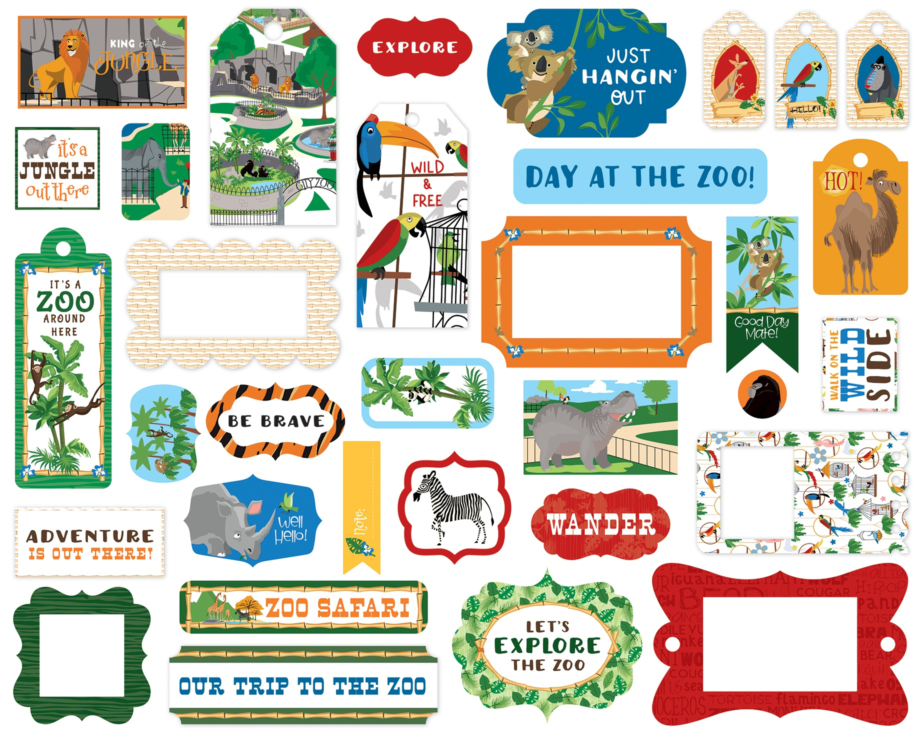 Carta Bella Cardstock Ephemera 33/Pkg-Frames & Tags, Zoo Adventure