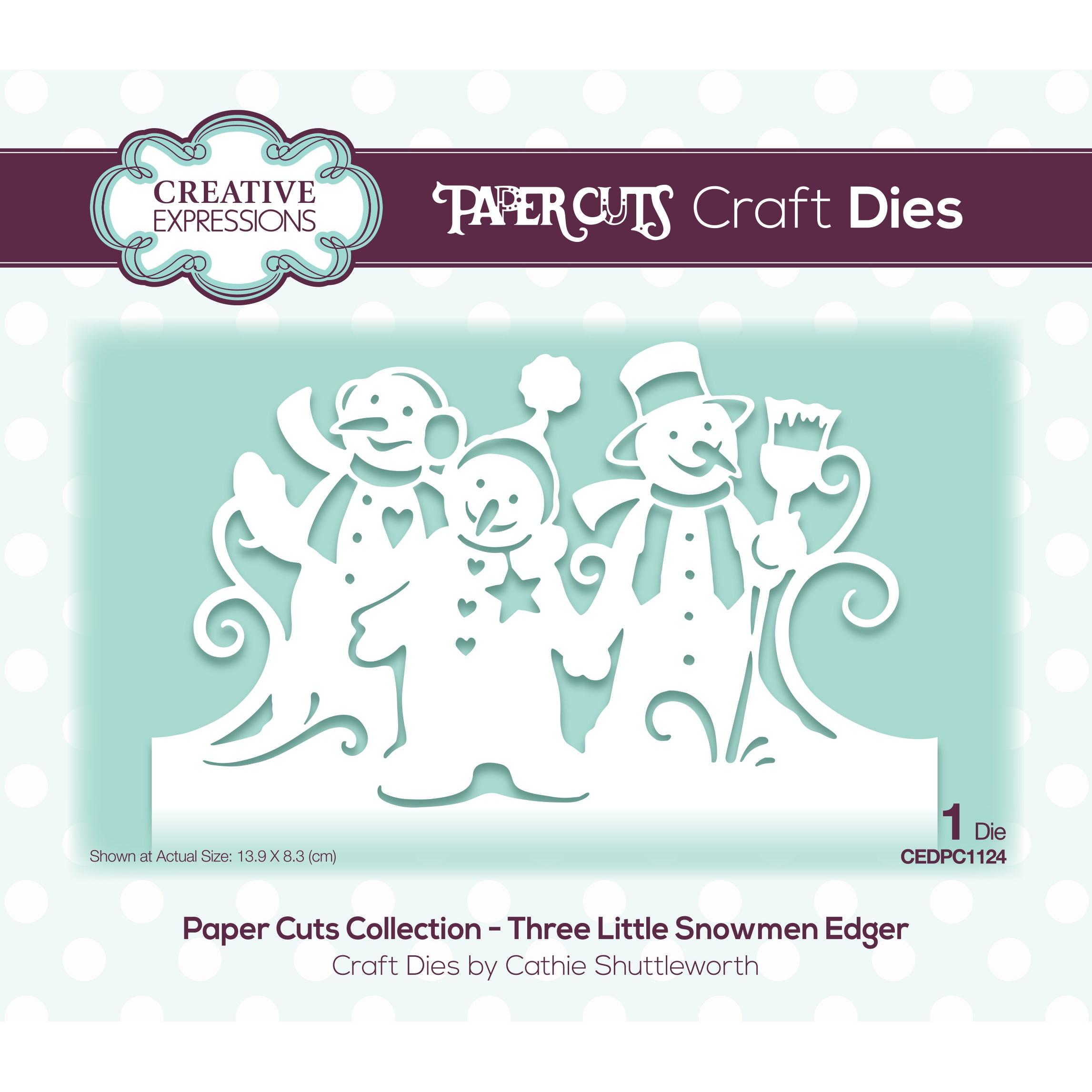 Creative Expressions Paper Cuts Edger Craft Dies-Three Little Snowmen