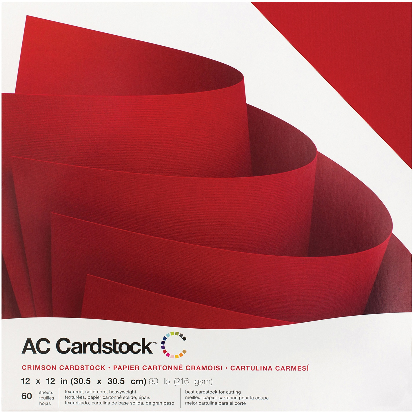 American Crafts Textured Cardstock Pack 12X12 60/Pkg-Crimson