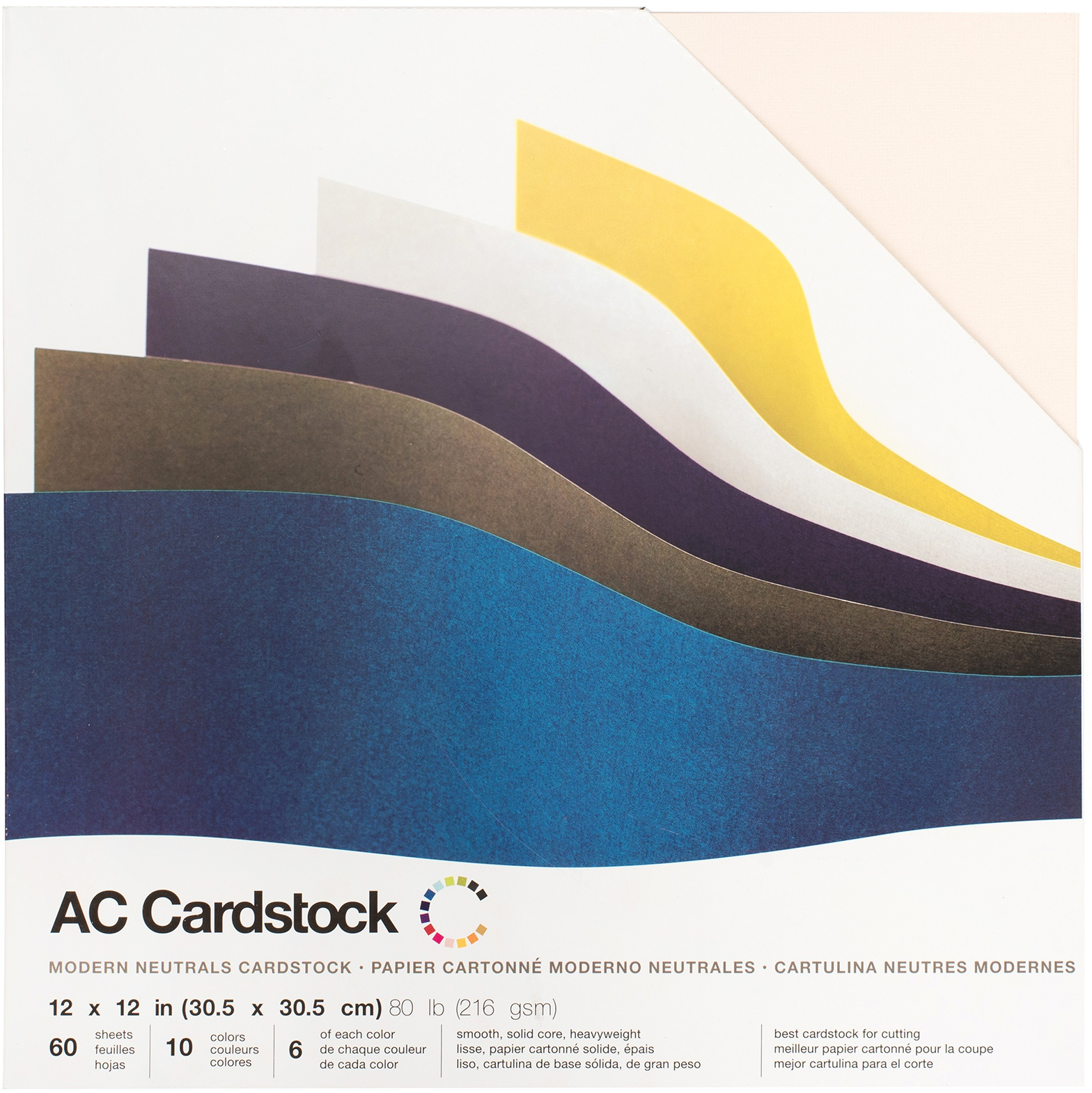 American Crafts Smooth Cardstock Pack 12X12 60/Pkg-Modern Neutral, 6 Colors