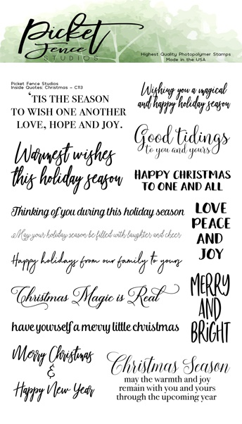 Picket Fence Studios 4X6 Stamp Set-Inside Quotes: Christmas