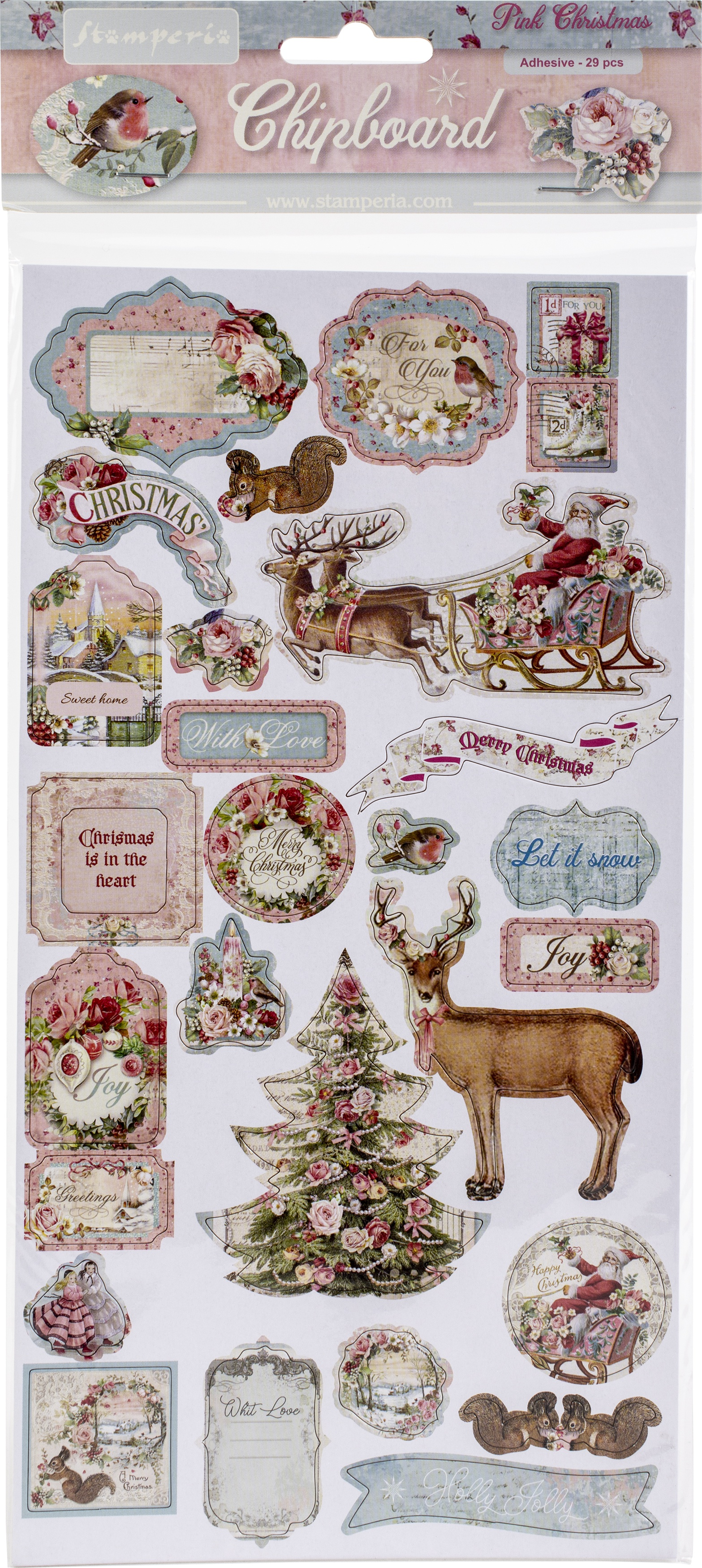 Stamperia Adhesive Chipboard 6X12-Pink Christmas