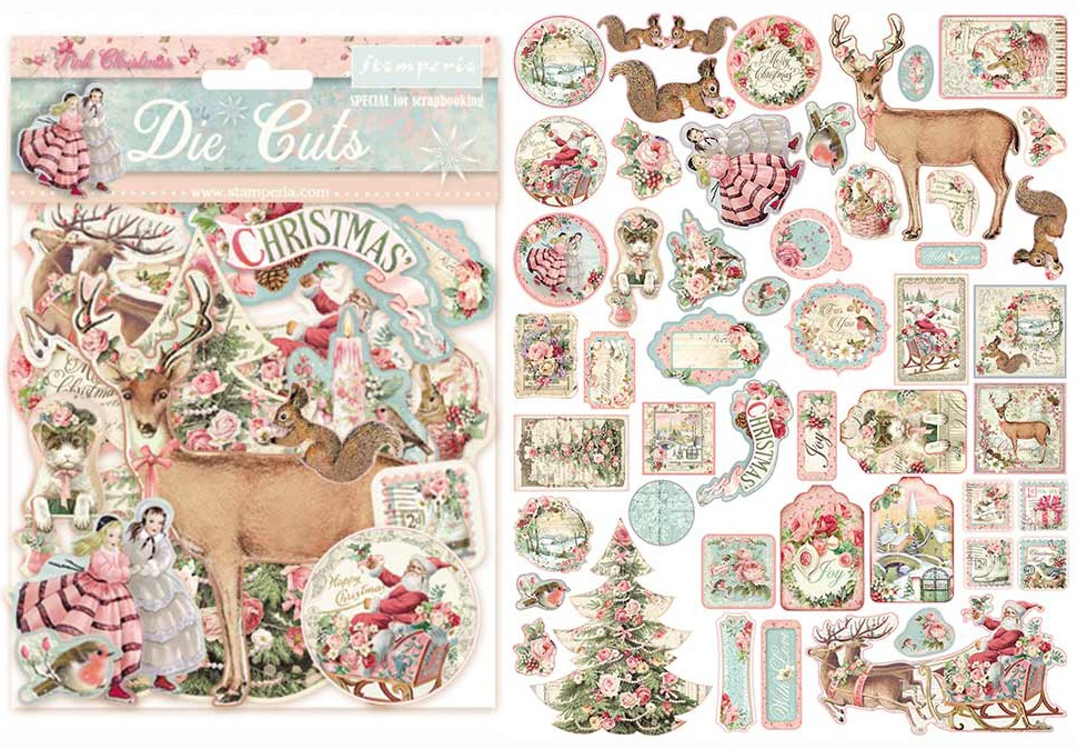 Stamperia Die-Cuts-Pink Christmas