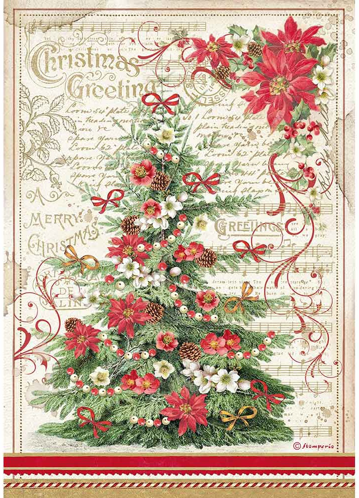 Stamperia Rice Paper Sheet A4-Greetings Tree, Classic Christmas
