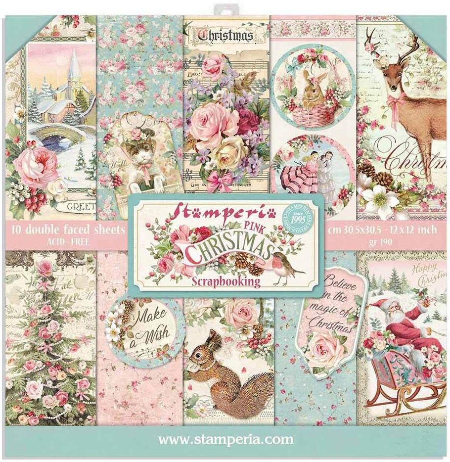 Stamperia Double-Sided Paper Pad 12X12 10/Pkg-Pink Christmas, 10 Designs/1 Eac...