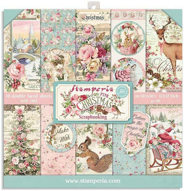 STAMPERIA 8X8 PAD: PINK CHRISTMAS