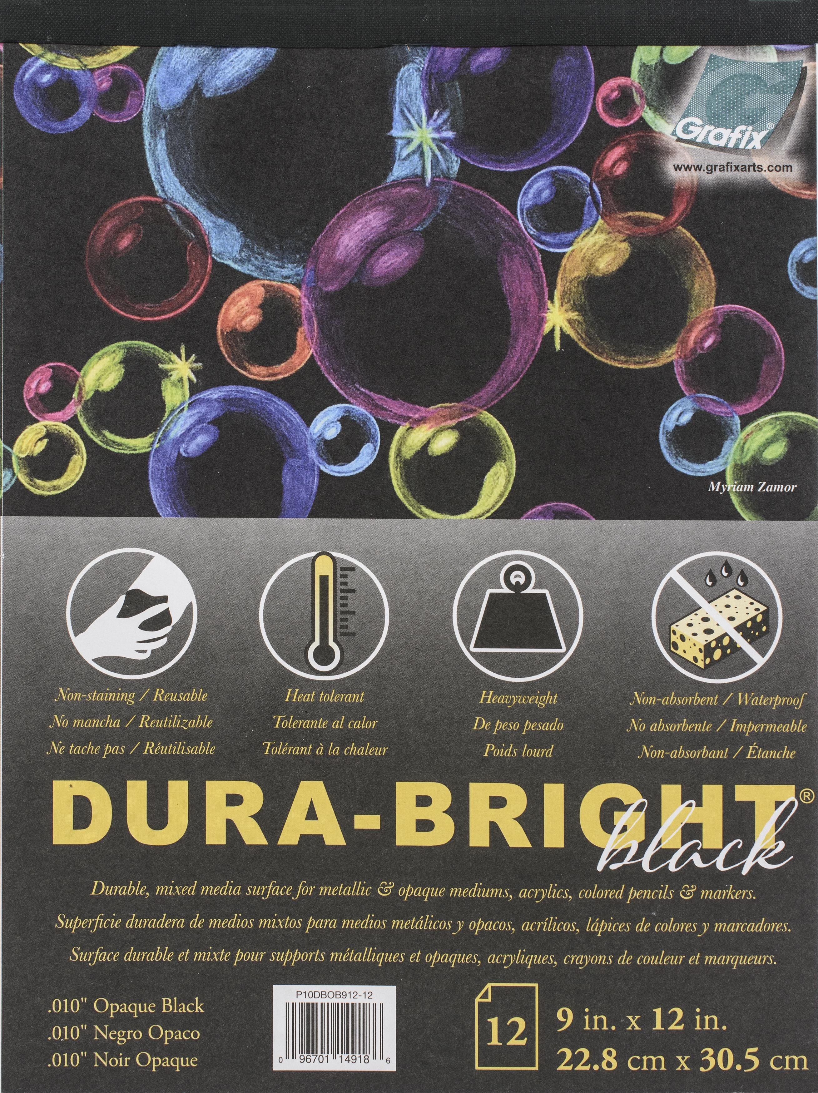 Dura-Bright Opaque Black Pad .010 Pad 9X12-9X12 12 Sheets/Pad