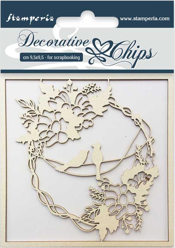 Stamperia Decorative Chips 3.75X3.75-Garland With Birds
