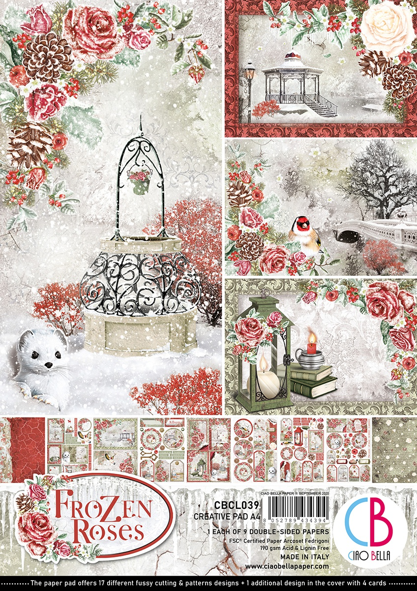 Ciao Bella Double-Sided Creative Pack 90lb A4 9/Pkg-Frozen Roses, 9 Designs/1 Each