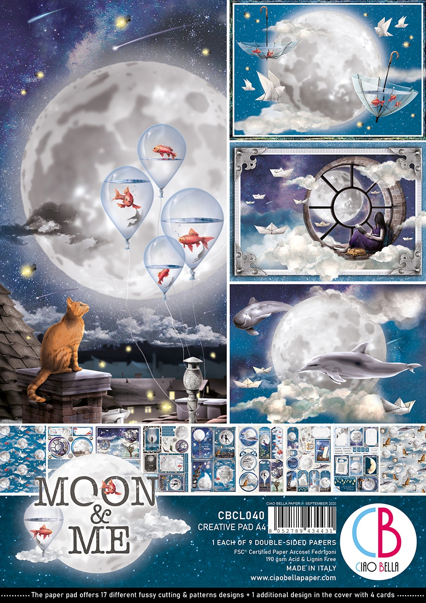 Ciao Bella Double-Sided Creative Pack A4 Moon & Me, 9 Designs/1 Each