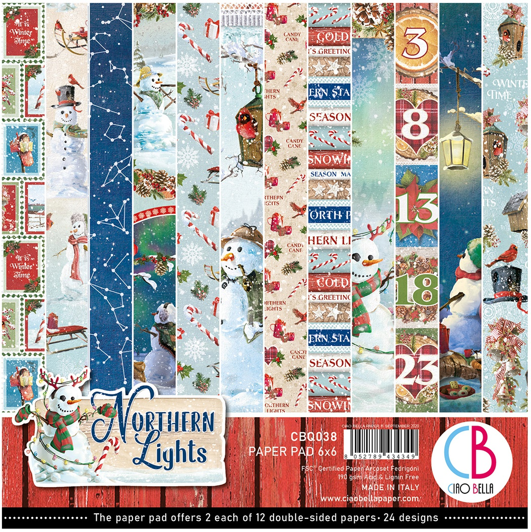Ciao Bella Double-Sided Paper Pack 90lb 6X6 24/Pkg-Northern Lights, 12 Designs/2 Each