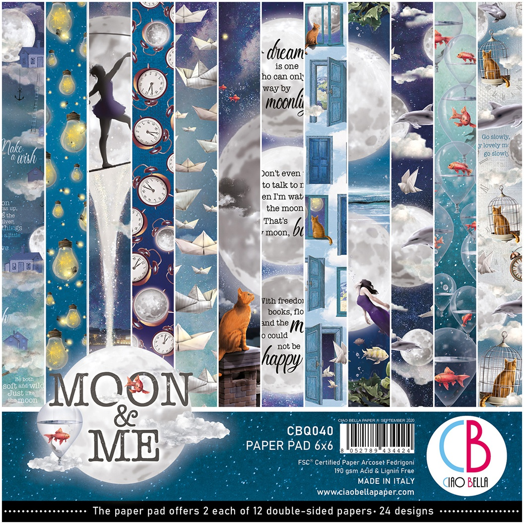 Ciao Bella Double-Sided Paper Pack 90lb 6X6 24/Pkg-Moon & Me, 12 Designs/2 Each