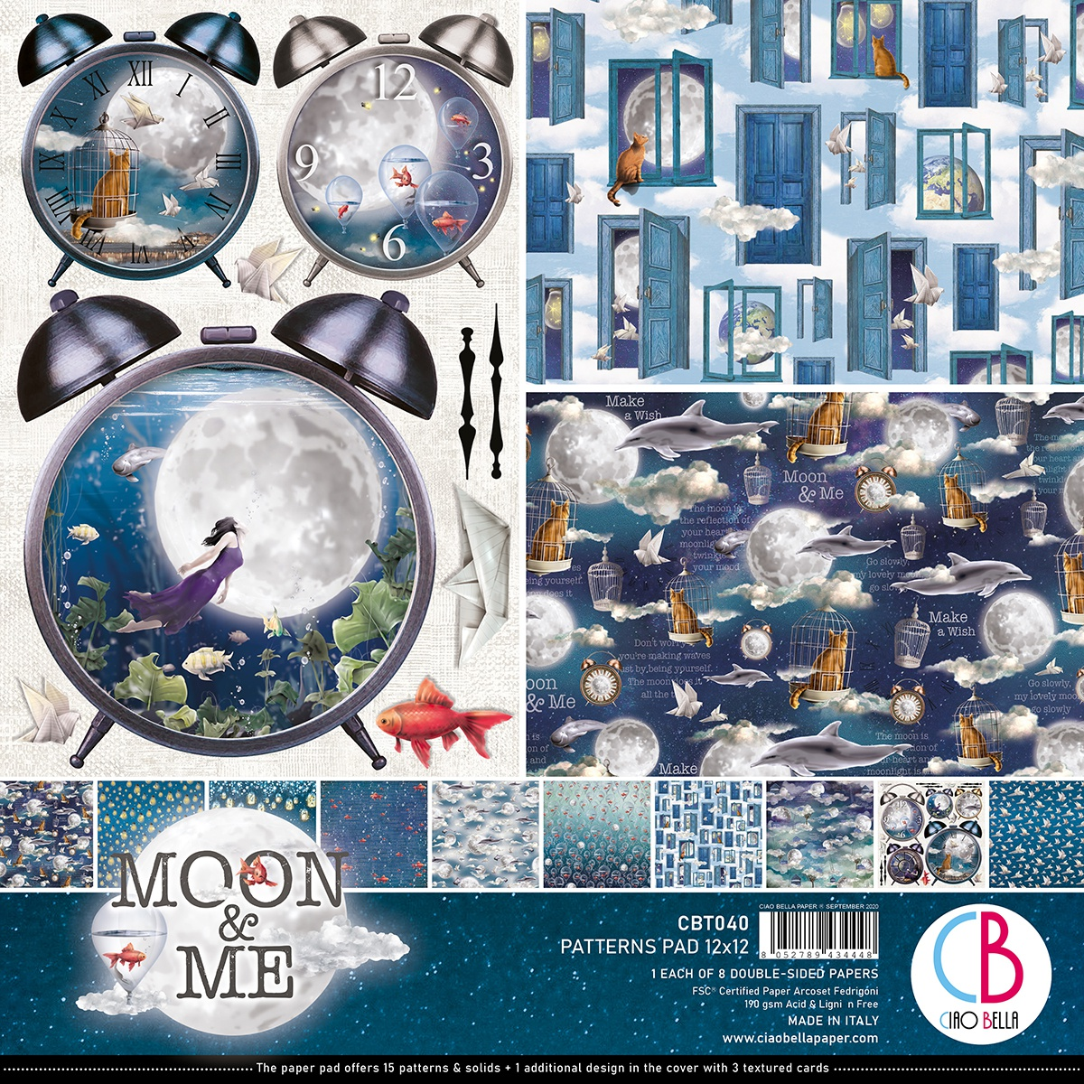 Ciao Bella Double-Sided Paper Pack 90lb 12X12 8/Pkg-Moon & Me, 8 Designs/1 Each