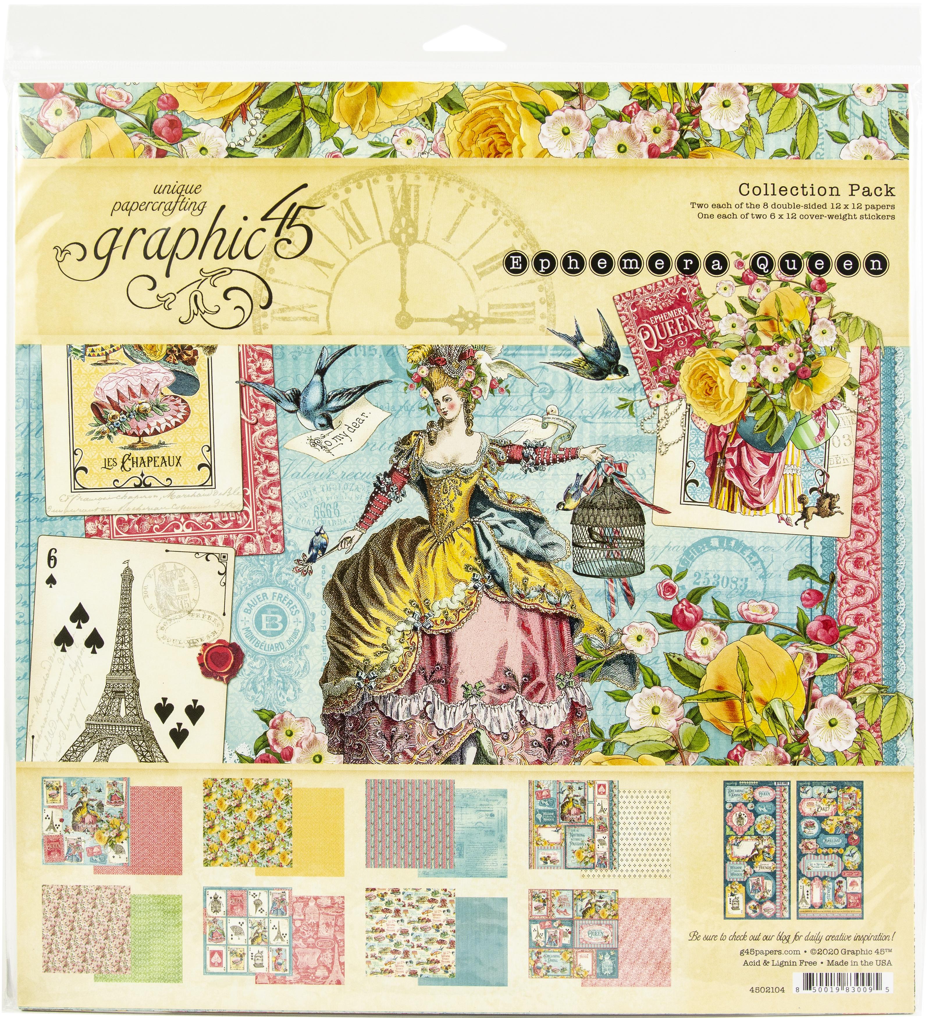Graphic 45 Collection Pack 12X12-Ephemera Queen