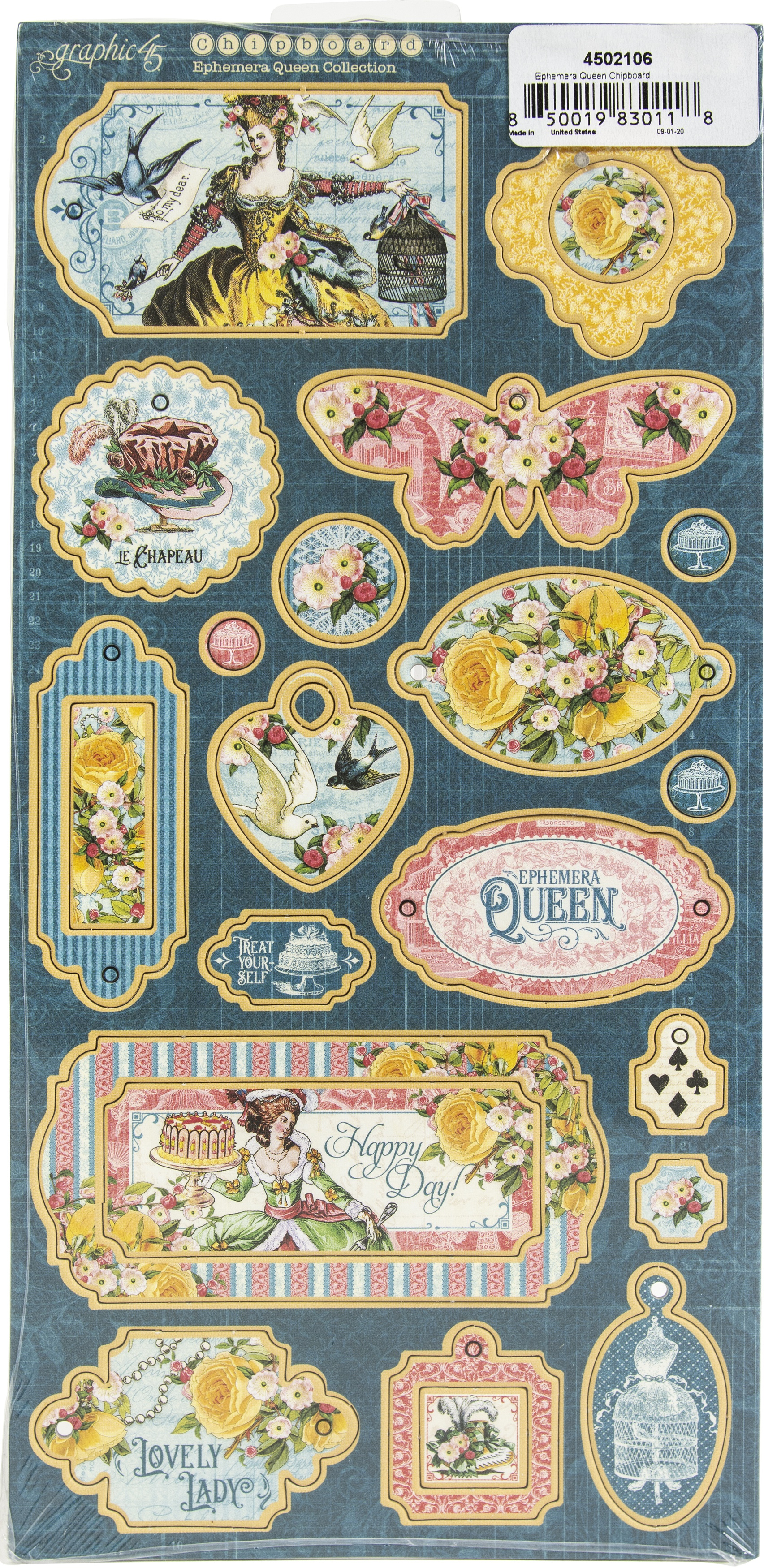 Ephemera Queen Chipboard Die-Cuts 6X12 Sheet-