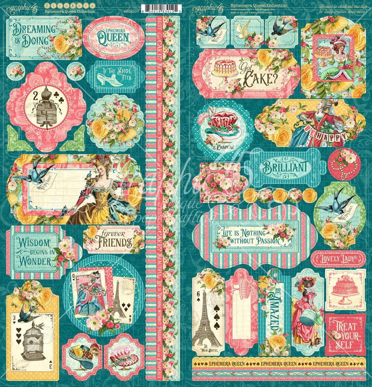 Ephemera Queen Cardstock Stickers 12X12-
